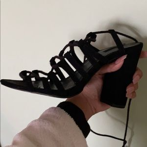 Forever 21 Shoes - Black tie heels-good condition